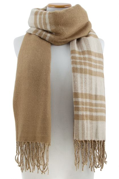 Plaid knit scarf - orangeshine.com