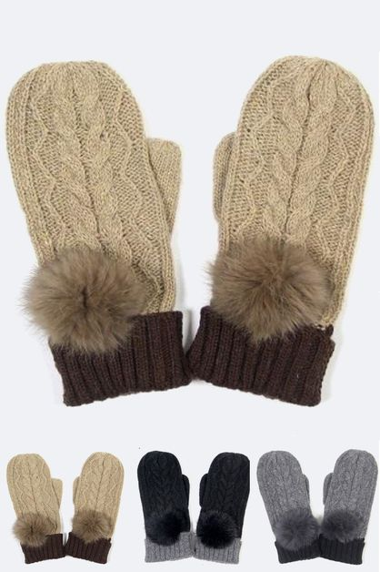 Mix Knit Fur Pom Mitten - orangeshine.com