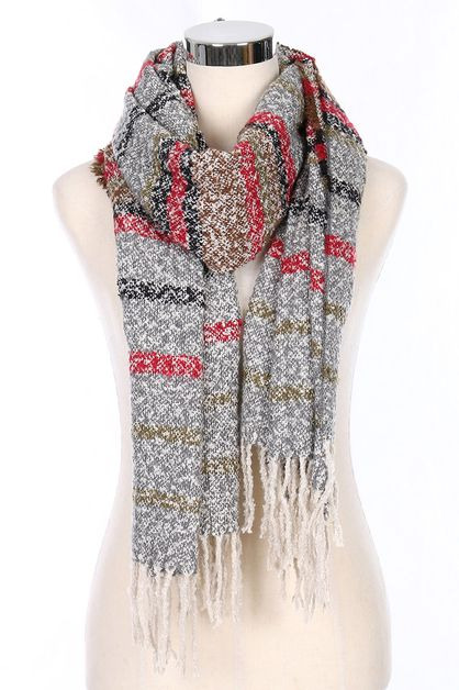 Multi Tone Striped Scarves - orangeshine.com