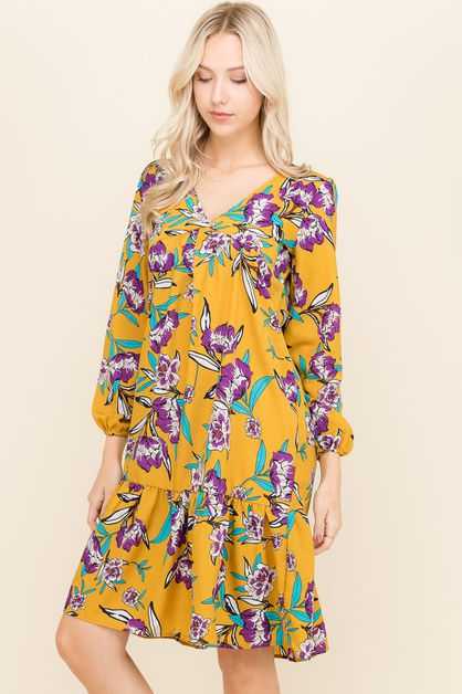 Brushed Floral Tunic Dresses - orangeshine.com