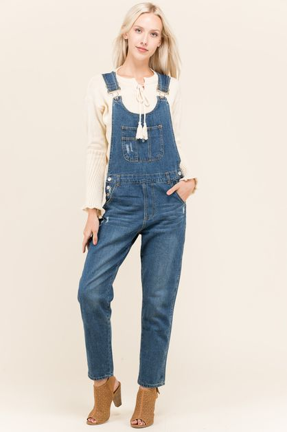 SOLID DENIM OVERALL PANTS - orangeshine.com