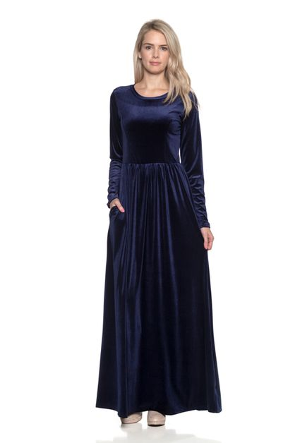 PRINCESS LINE TOP VELVET MAXI DRESS - orangeshine.com