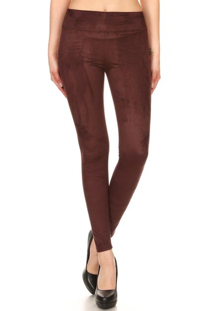 Soft Solid Faux Suede Leggings Pants - orangeshine.com