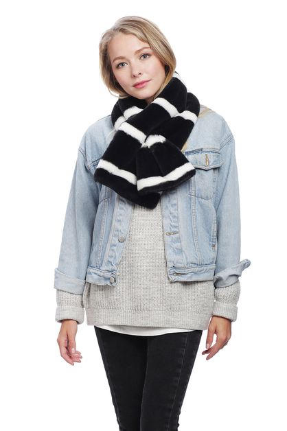 STRIPE FAUX FUR SHORT SCARF - orangeshine.com