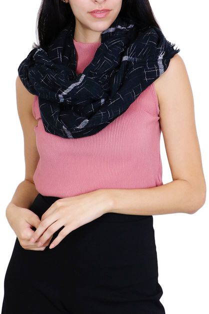 Black Geo Stripes Infinity Scarf - orangeshine.com