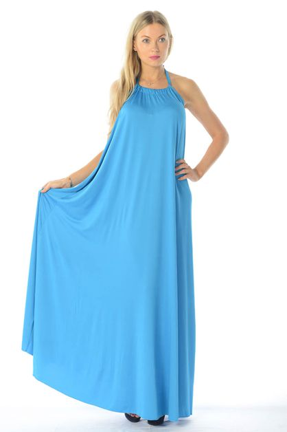 HALTER NECK MAXI DRESS - orangeshine.com