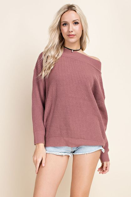 Off the Shoulder Pullover - orangeshine.com