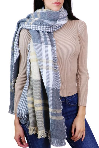 Grey Plaid Fringe Oblong Scarf - orangeshine.com