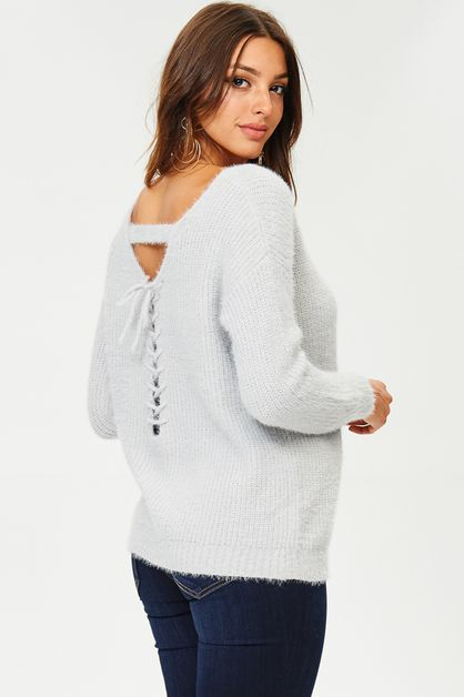 SWEATER WITH V LACE-UP BACK DETAILED - orangeshine.com
