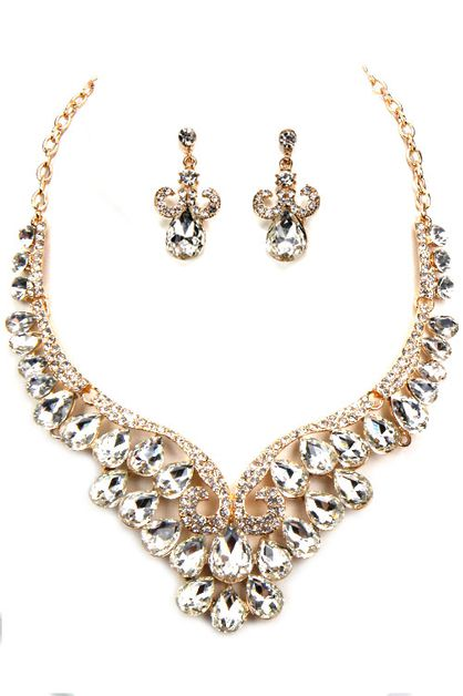 Rhinestone Tear Drop Necklace Set - orangeshine.com