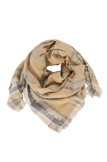 Tan Plaid Square Scarf - orangeshine.com