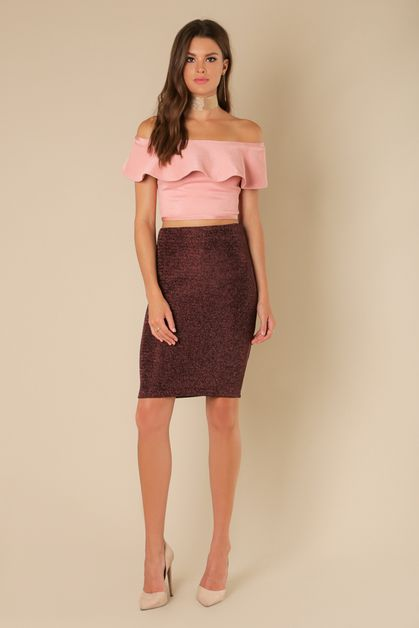 lurex pencil body con skirt - orangeshine.com