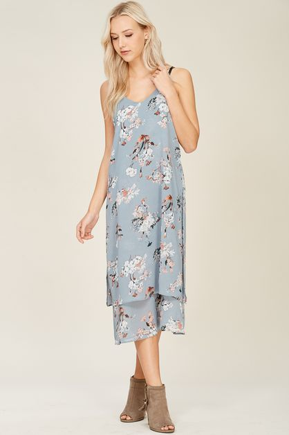 Floral Print Double Layered Dress - orangeshine.com