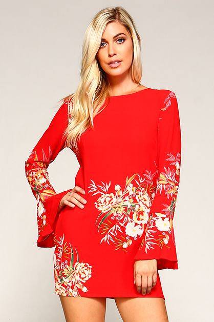 Floral Dress Bell Sleeves  - orangeshine.com