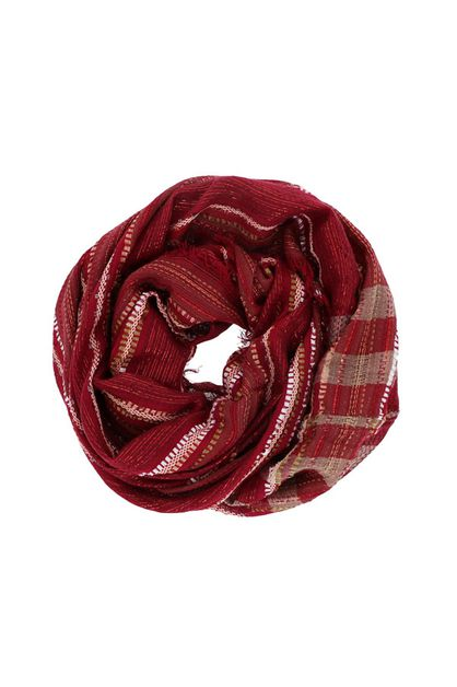 Maroon Red Striped Infinity Scarf - orangeshine.com