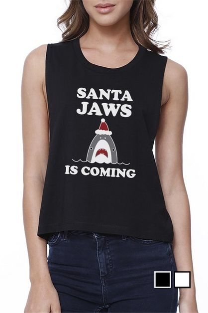 Santa Jaws Is Coming Crop Tee - orangeshine.com