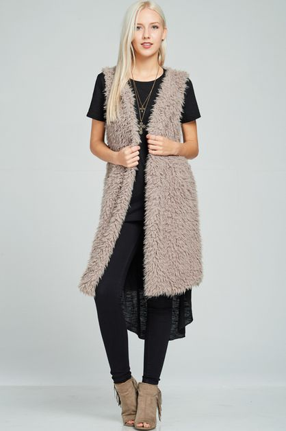 Shaggy Fur Sleeveless Vest - orangeshine.com