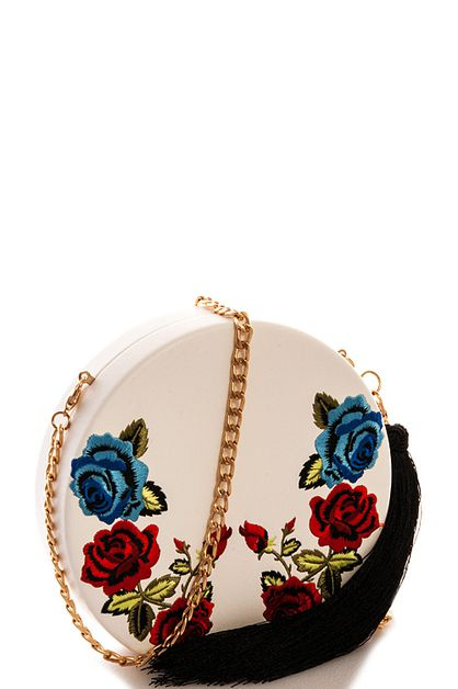 Flower Embroidered Circle Crossbody  - orangeshine.com