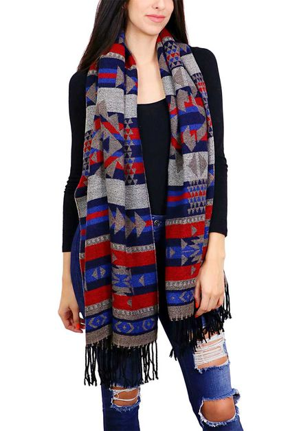 Aztec Tribal Pattern Oblong Scarf - orangeshine.com