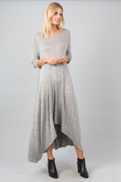 Sweater Maxi Dress with Pockets - orangeshine.com