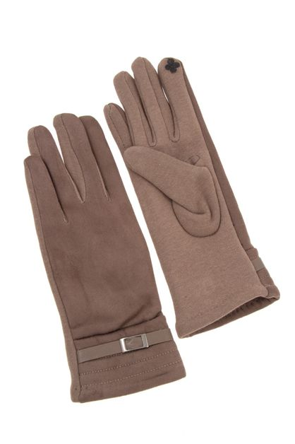 FAUX SUEDE BUCKLE ACCENT GLOVE - orangeshine.com