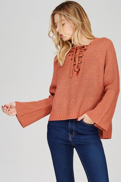 Lace-Up Front Chunk Sweater Pullover - orangeshine.com