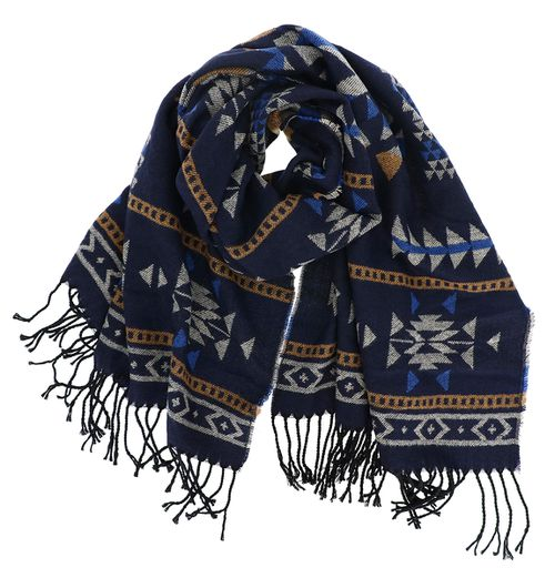 Tribal Aztec Print Oblong Scarf Navy - orangeshine.com