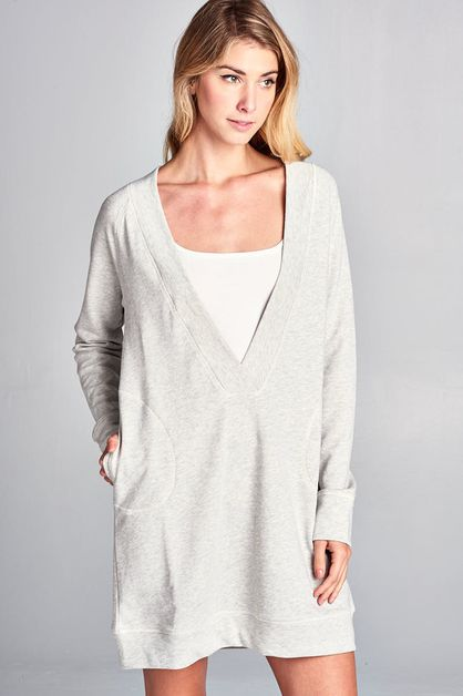 Deep V-neck Sweatshirt Dress - orangeshine.com