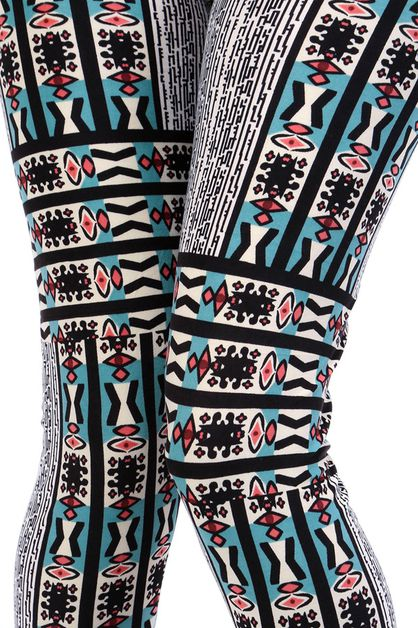 ETHNIC PRINT BRUSHED FULL LEGGINGS - orangeshine.com