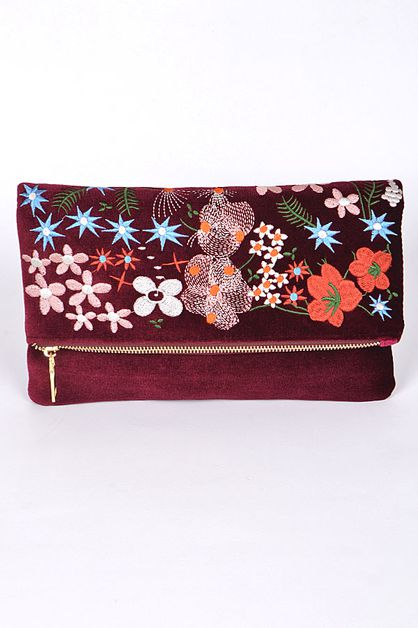 VELVET FLORAL EMBROIDERED CLUTCH - orangeshine.com
