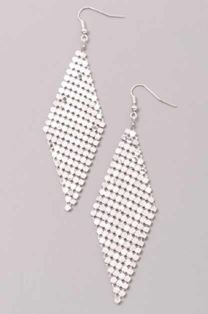 DIAMOND MESH DROP EARRINGS - orangeshine.com