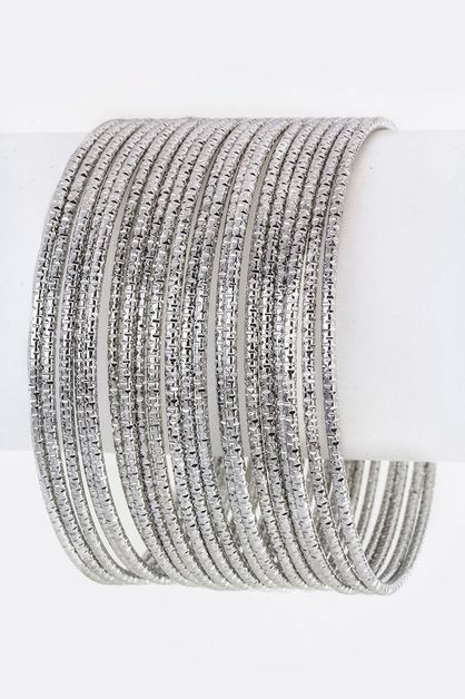 Textured Metal Stacking Bangles - orangeshine.com