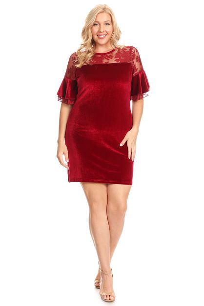 PLUS SIZE VELVET SHEATH DRESS - orangeshine.com