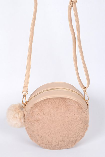 ROUND FAUX FUR FASHION CLUTCH - orangeshine.com