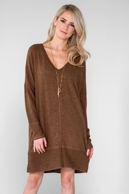 Kaylas Armoire V-neck Brushed Knit d - orangeshine.com