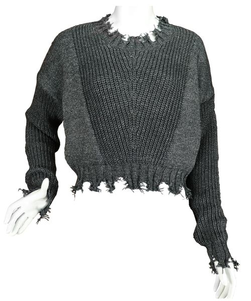 charcoal knitted crop top - orangeshine.com