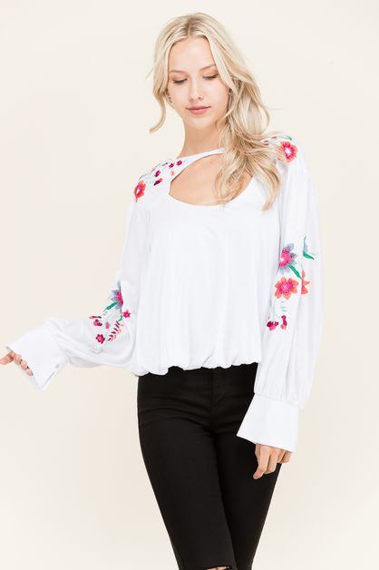 Floral Embroidered Cutout  Top - orangeshine.com