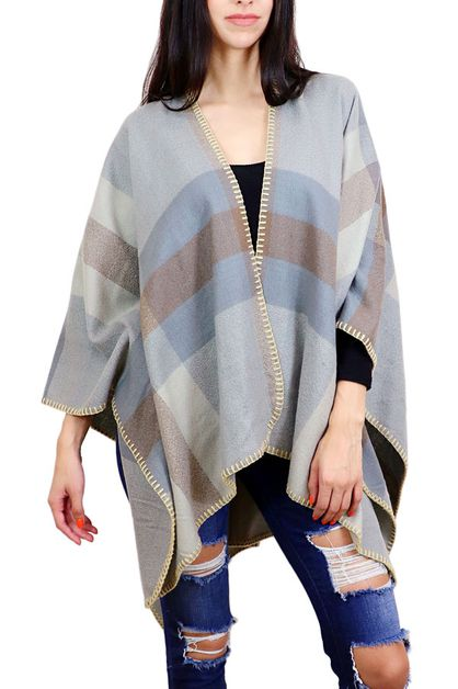 Striped Cozy Shawl Wrap - orangeshine.com