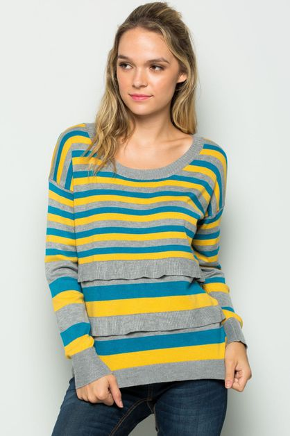 Striped Ruffle Sweater - orangeshine.com