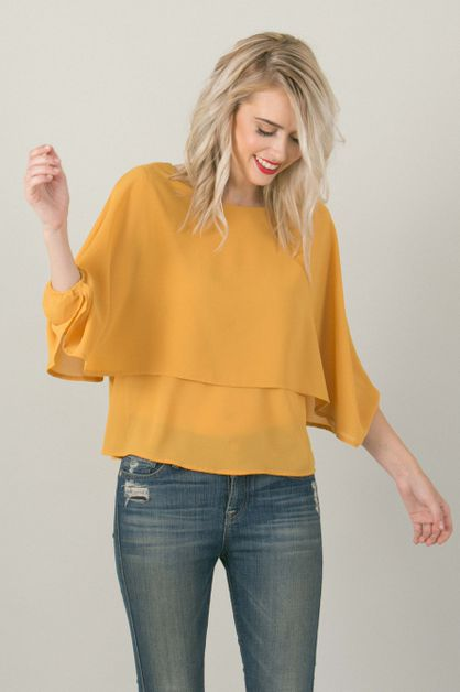 Yellow Flowy Top - orangeshine.com
