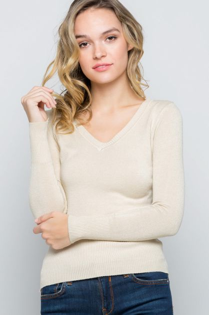 Casual V-neck Sweater - orangeshine.com