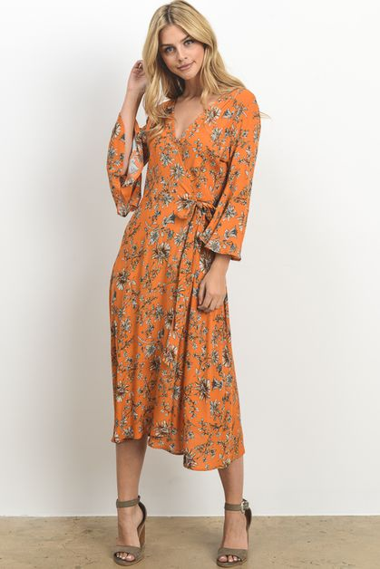 Long Floral Wrap Dress - orangeshine.com