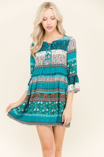 Border Print Dress - orangeshine.com