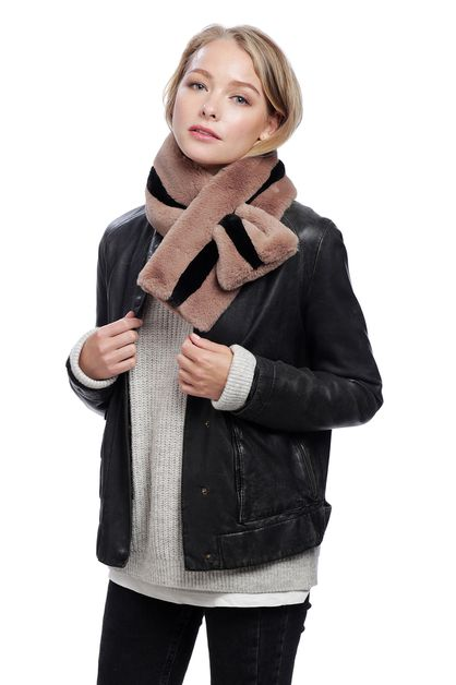 TWO TONE FAUX FUR SCARF - orangeshine.com