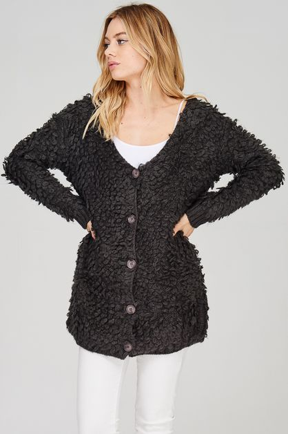 Loop Button Down Sweater Cardigan - orangeshine.com