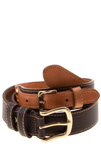 Genuine leather double buckle belt - orangeshine.com