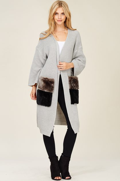 Cardigan with Faux Fur Pockets - orangeshine.com