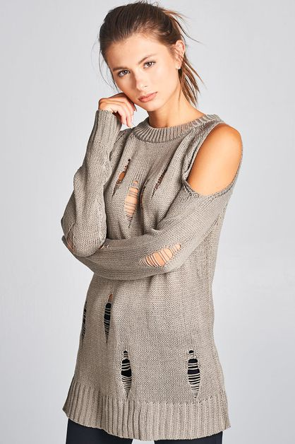 Torn Style Open Shoulder Sweater - orangeshine.com