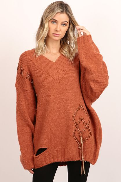 Side Lace Up Sweater Top - orangeshine.com