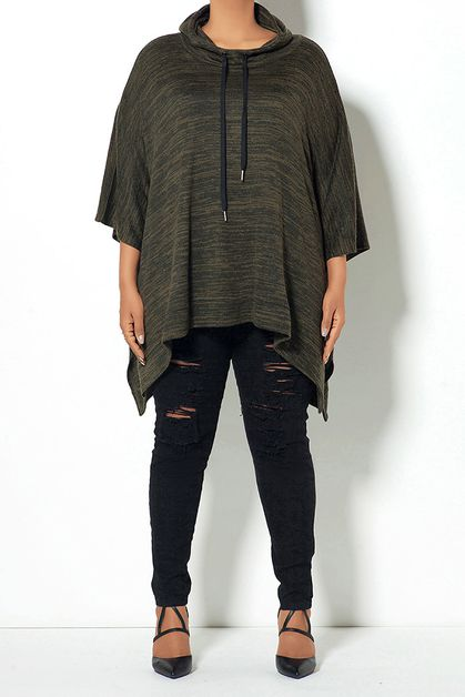 PLUS SIZE GREEN HOODED PONCHO - orangeshine.com